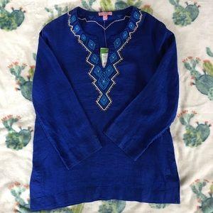 LILLY PULITZER AMELIA ISLAND TUNIC TWILIGHT BLUE